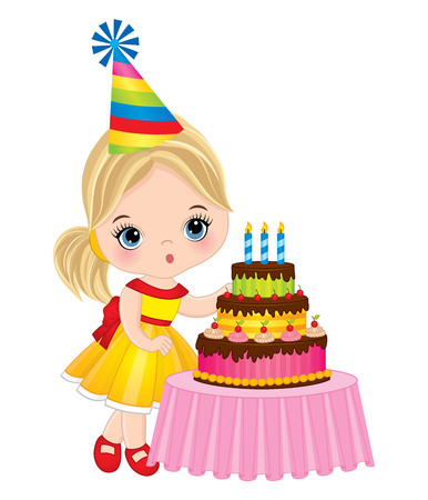 Vector cute little girl blowing out candles on birthday cake. Vector birthday party. Little girl with birthday cake vector illustration Illustration