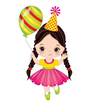 kids birthday party: A Vector cute little girl with balloon. Little girl vector illustration. Illustration
