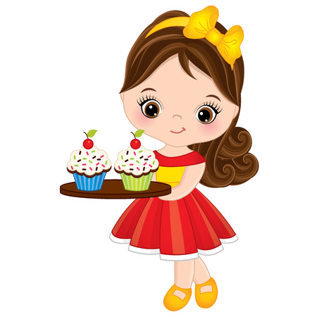 A Vector cute little girl with holding a tray with cupcakes. Little girl vector illustration
