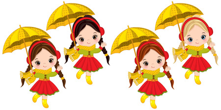 Vector cute little girls with umbrellas. Vector little girls with various hair colors. Autumn girls vector illustration
