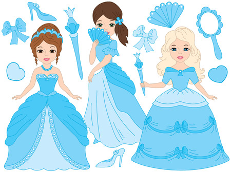Vector beautiful princesses in turquoise dresses. Princess vector illustration Illustration
