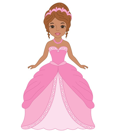 Vector beautiful African American princess in pink dress. Princess vector illustration