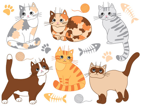 siamese: Vector set with cute cats. Vector kittens. Cats vector illustration Illustration