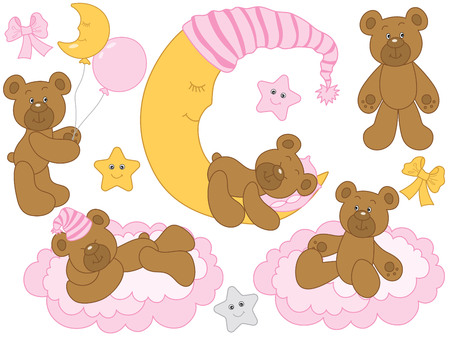Vector set for baby girl shower. Set includes cute baby bears, moon, clouds, stars and balloons. Vector baby girl shower. Baby bears vector illustration  イラスト・ベクター素材