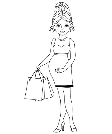 Vector black and white beautiful pregnant woman shopping. Vector baby shower. Pregnant woman vector illustration
