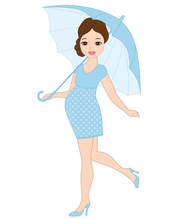 Vector beautiful pregnant woman in blue dress holding umbrella. Vector baby boy shower. Pregnant woman vector illustration