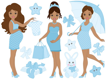 abdomen women: Vector set with beautiful African American pregnant women, baby clothes and toys. Vector baby boy shower. Pregnancy vector illustration Illustration