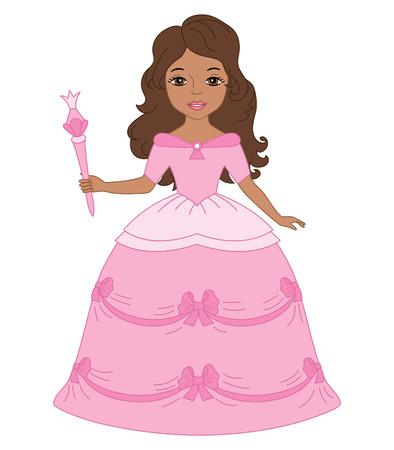 cinderella: Vector beautiful African American princess in pink dress holding a magic wand. Princess vector illustration