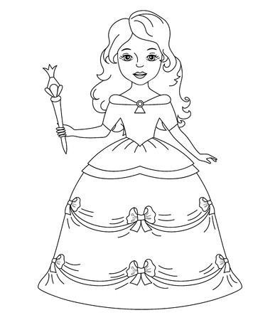 Vector black and white beautiful princess with magic wand. Princess vector illustration. Illustration