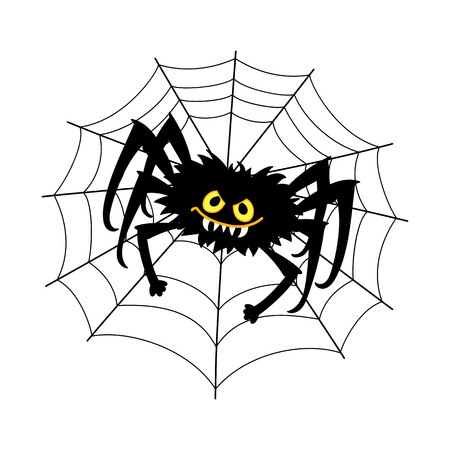 Vector black cartoon spider sitting on the cobweb.  Vector Halloween spider. Spider vector illustration. Illustration