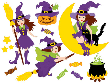 Vector Halloween set with beautiful witches, cat, moon, cauldron, sweets, broomsticks and pumpkin. Vector Halloween witches. Halloween vector illustration. Illustration
