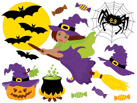 African American witch flying on broomsticks with spider, bats, moon and pumpkin