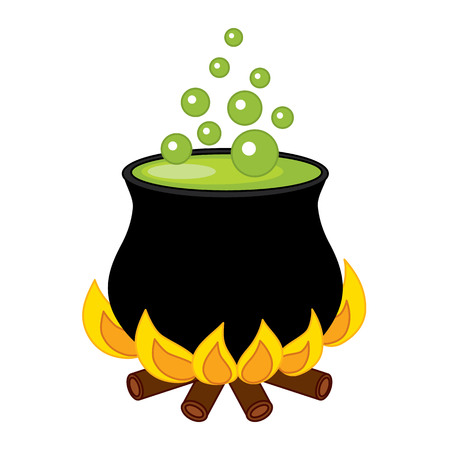 Black cauldron with potion and bubbles in cartoon clip-art illustration Vectores