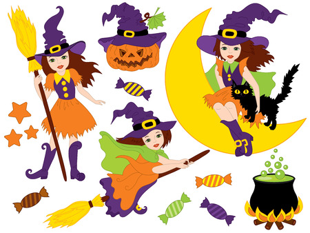 Witches set with broomsticks, spider, bats, moon and pumpkin  in cartoon illustration.