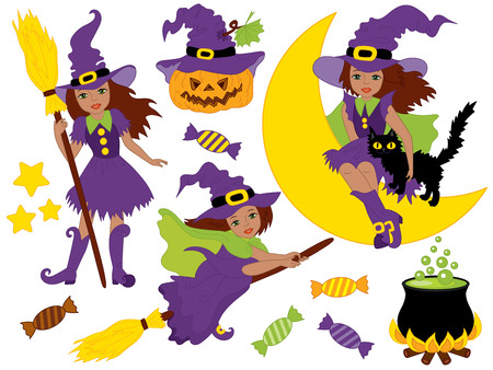 African American witches set with  broomsticks, sweets and pumpkin  in cartoon illustration.