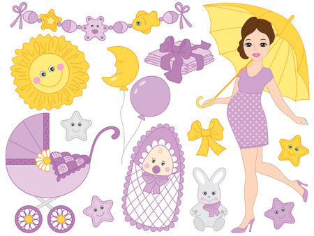 Vector set for baby shower. Set includes beautiful pregnant woman, baby, stroller, stork. bunny, cartoon sun and toys. Vector baby shower. Baby shower vector illustration Illustration