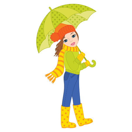 Vector beautiful young girl holding umbrella. Vector autumn girl. Autumn girl vector illustration