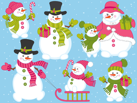 Vector Christmas and New Year set with cute snowmen. Vector snowman family. Snowman with candy sticks, sledge and presents. Snowmen vector illustration Vektorové ilustrace