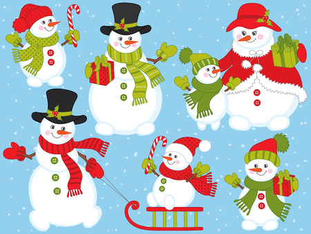 Vector Christmas and New Year set with cute snowmen. Vector snowman family.  Snowman with candy sticks, sledge and presents. Snowmen vector illustration