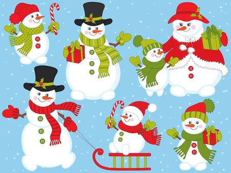 Vectorkerstmis en Nieuwjaarreeks met leuke sneeuwmannen. Vector sneeuwman familie. Sneeuwman met snoepstokken, slee en cadeaus. Sneeuwmannen vectorillustratie