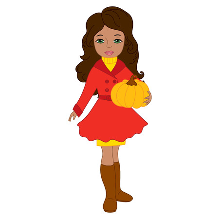Vector beautiful young African American girl holding a pumpkin. Vector autumn girl. Autumn girl vector illustration