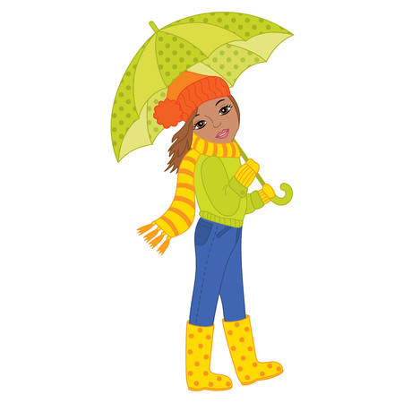 Vector beautiful African American girl holding umbrella. Vector autumn girl. African American autumn girl vector illustration Illustration