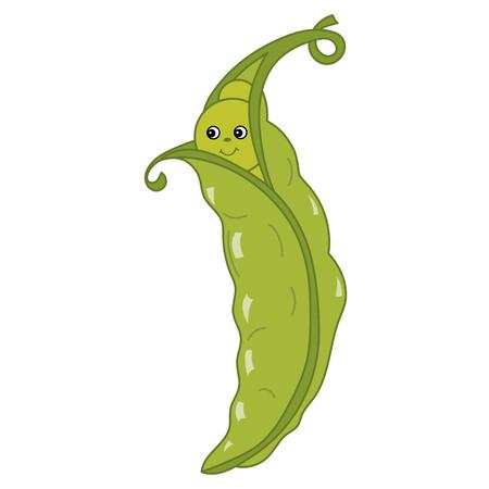 スマイルとベクトルかわいい漫画緑エンドウ豆。ベクトル野菜絵文字。漫画豆ベクトル図