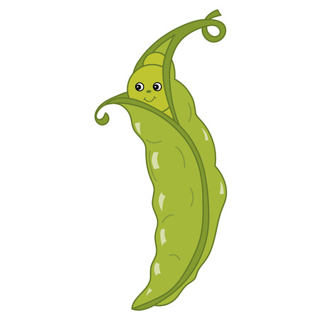 Vector cute cartoon green pea with smiley face. Vector vegetable emoticon. Cartoon peas vector illustration