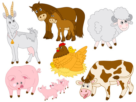 Set of cute cartoon farm animals. Set includes pig, horse, cow, sheep, hen, chicken and goat.  Farm animals illustration