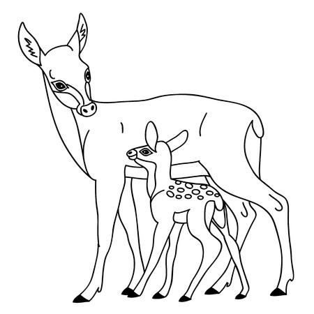 Vector zwart-wit cute cartoon herten. Vector herten. Herten vector illustratie
