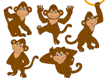 Vector set of cute cartoon monkeys.Monkeys vector illustration
