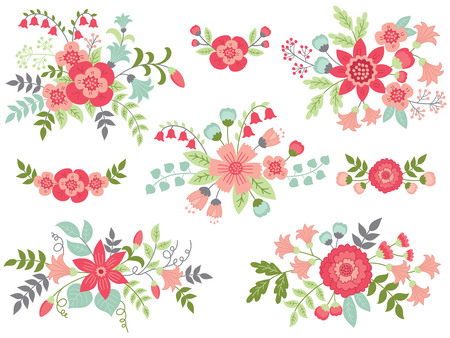 Vector set of floral bouquets. Colorful collection with pink flowers, green and turquoise leaves. Vector floral elements for wedding, bridal shower and birthday. Vector floral bouquet. Bouquets vector illustration