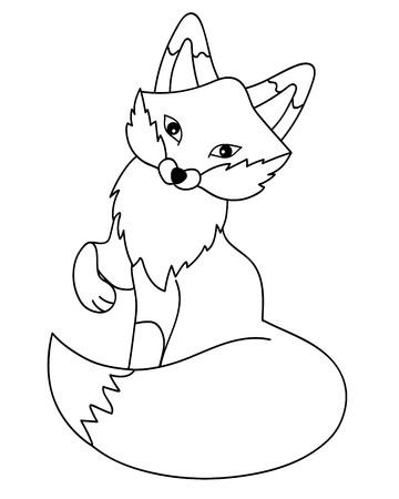 Vector black and white cute cartoon fox. Vector fox. Fox vector illustration 向量圖像