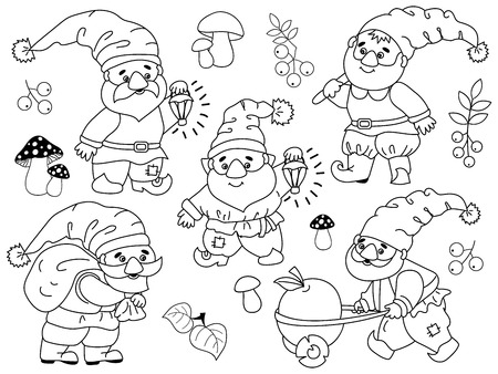 Vector set of black and white cute cartoon gnomes working. Vector garden gnome. Vector forest gnome. Vector gnome. Gnomes vector illustration