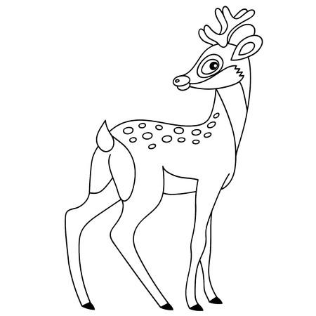 Vector black and white cute cartoon deer. Vector baby deer. Deer vector illustration Illustration