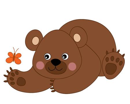 Orso bruno cartone animato carino vettoriale con farfalla. Cucciolo di orso vettoriale. Illustrazione vettoriale orso