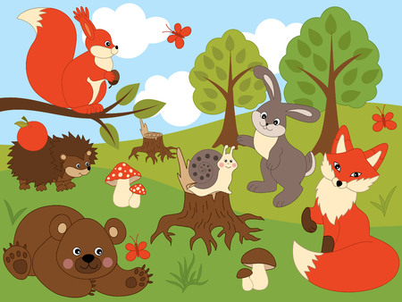 Vector set of cute wild forest animals. Set includes fox, rabbit, bear, hedgehog, snail and squirrel. Forest animals vector illustration 向量圖像