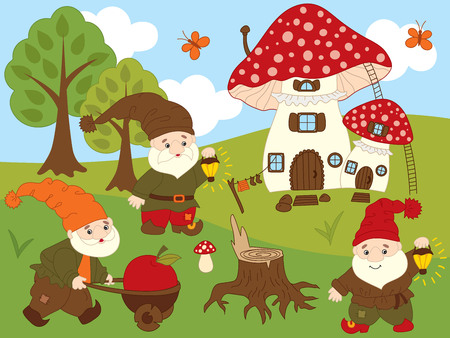 Vector set of cute cartoon forest gnomes, amanita house, trees, sky, clouds and butterflies . Vector gnome. Forest gnomes vector illustration