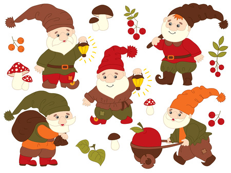 amanita: Vector set of cute cartoon gnomes working. Vector garden gnome. Vector forest gnome. Vector gnome. Gnomes vector illustration