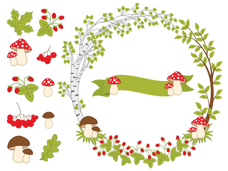 amanita: Vector summer forest set with wreath, mushrooms, amanita, leaves, berries and ribbon. Vector summer various plants. Summer wreath and forest plants vector illustration Illustration
