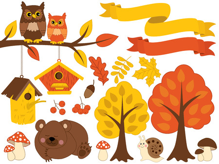 Vector autumn forest set. Set includes brown bear, owls sitting on branch, snail, amanita, trees, leaves, birdhouses and berries. Vector autumn forest set. Forest animals and plants vector Illustration
