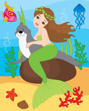 Vector beautiful mermaid, seal, fish, jellyfish, coral, seaweeds, shell and starfish on underwater background. Vector mermaid swimming with seal. Mermaid and sea life elements vector illustration Illustration