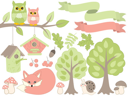 Vector summer forest set. Set includes red fox, owls sitting on branch, snail, amanita, trees, leaves, birdhouses and berries. Vector summer forest. Forest animals and plants vector Illustration