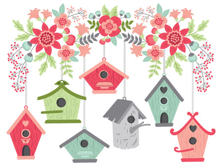 Vector birdhouses hanging from blooming branch. Vector birdhouses and pink bouquets. Birdhouses and floral branch vector illustration Illustration