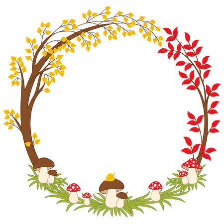 amanita: Vector autumn forest wreath with mushrooms, amanita and leaves. Vector fall wreath. Autumn wreath vector Illustration Illustration