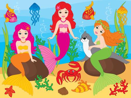 Vector set of beautiful mermaids, seal, fish, jellyfish, coral, seaweeds, seashells, crab and starfish on underwater background. Vector mermaid. Mermaids and sea life elements vector illustration Illustration
