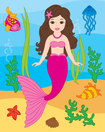 Vector beautiful mermaid, fish, jellyfish, seaweeds, shells and starfish on underwater background. Vector mermaid swimming.  Mermaid and sea life elements vector illustration Illustration