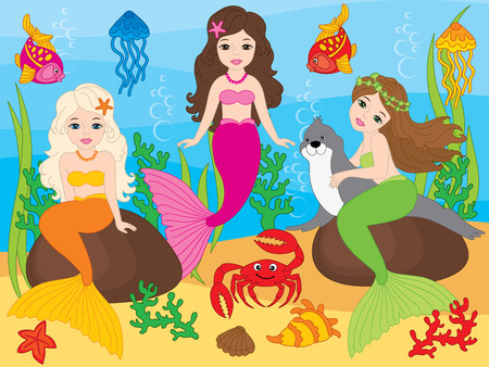 Vector set of beautiful mermaids, seal, fish, jellyfish, coral, seaweeds, seashells, crab and starfish on underwater background. Vector mermaid. Mermaids and sea life elements vector illustration Illustration