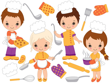 Vector cute little kids cooking and baking. Little chefs vector illustration