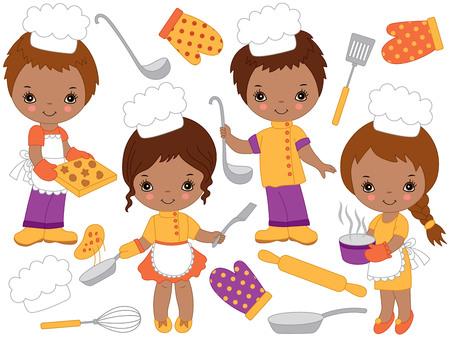 Vector schattige kleine Afro-Amerikaanse kinderen koken en bakken. Vector kleine kinderen. Kleine chef-koks vectorillustratie